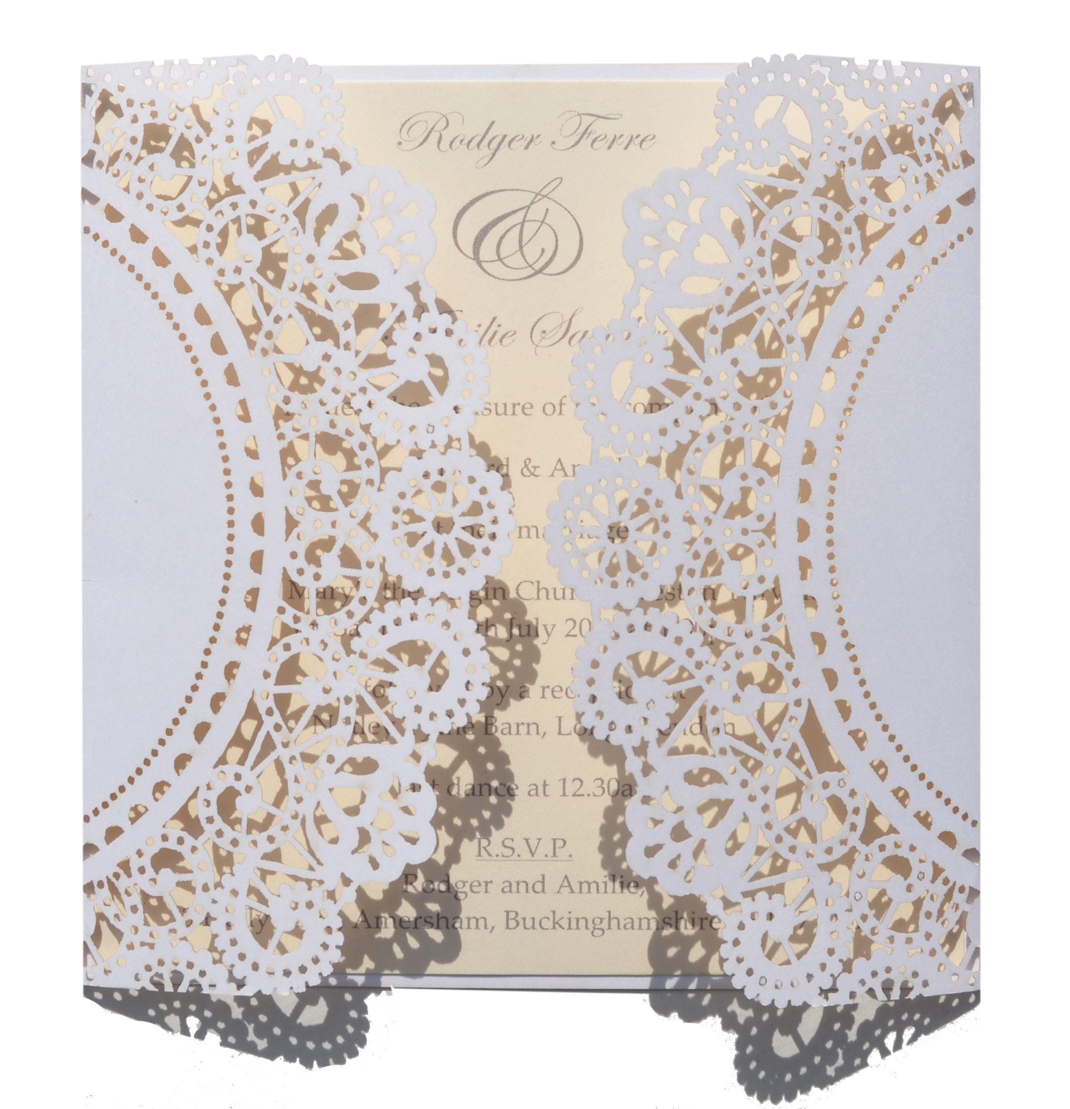 Doily lace laser cut invitation www.sew-unique.co.uk | Laser wedding ...