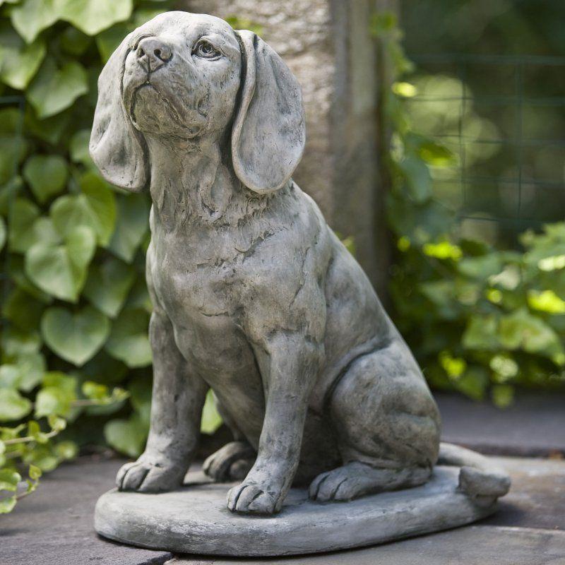 Campania International Scout The Beagle Cast Stone Garden Statue Aged  Limestone   A 387 AL