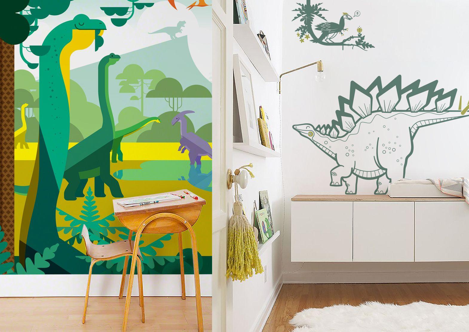 papier peint poster monde jurassique et kit de stickers dinosaures