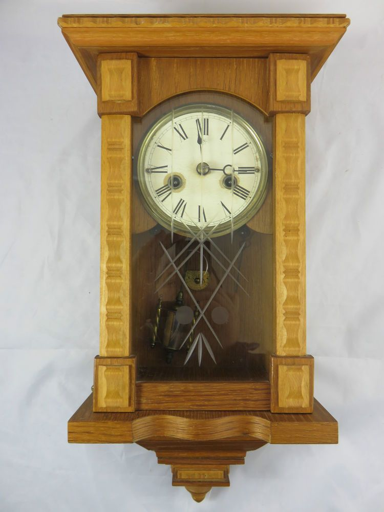 Antik Junghans Wanduhr Uhr Wandpendeluhr Mit Aufziehschlussel