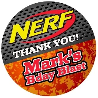 Nerf Parties are Popular with Boys 8-10 yrs. This personalized stickers will rock at your Boys next Birthday Party!