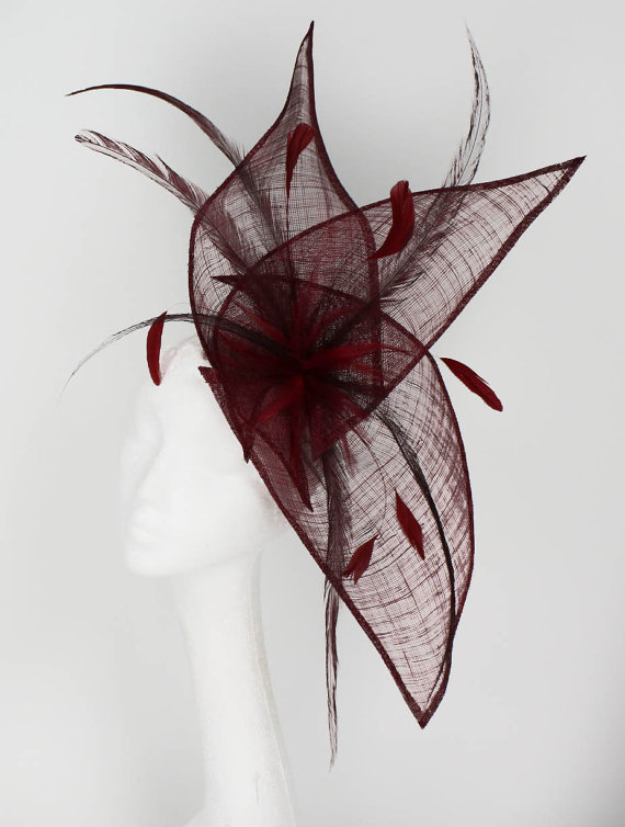 Burgundy Fascinator Hat for Weddings Races and by Hatsbycressida ... f7e8455f360