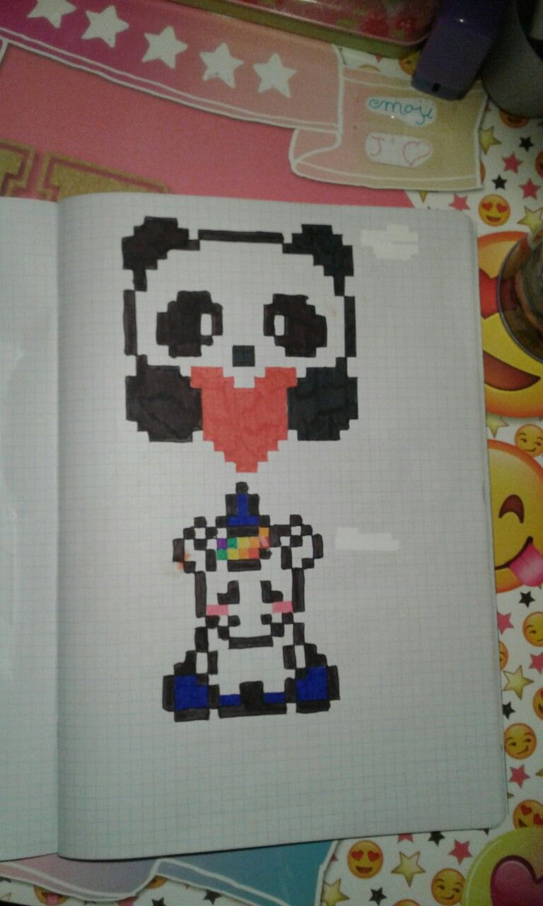 Panda Licorne Dessin Pixel Dessin Pixel Facile Et Pixel Art