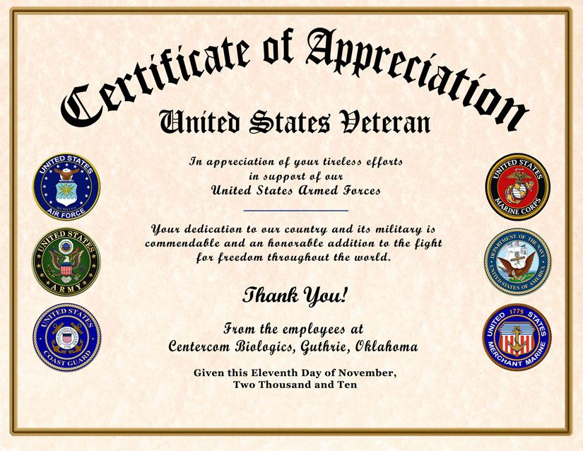 Veteran Appreciation Certificate  Veterans Day
