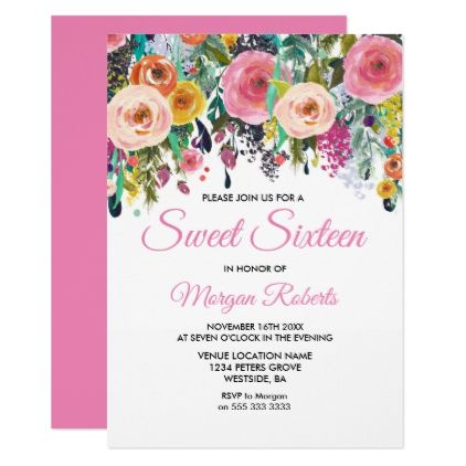 Pink flower colorful sweet 16 birthday party card sweet 16 pink flower colorful sweet 16 birthday party card birthday invitations stopboris Image collections