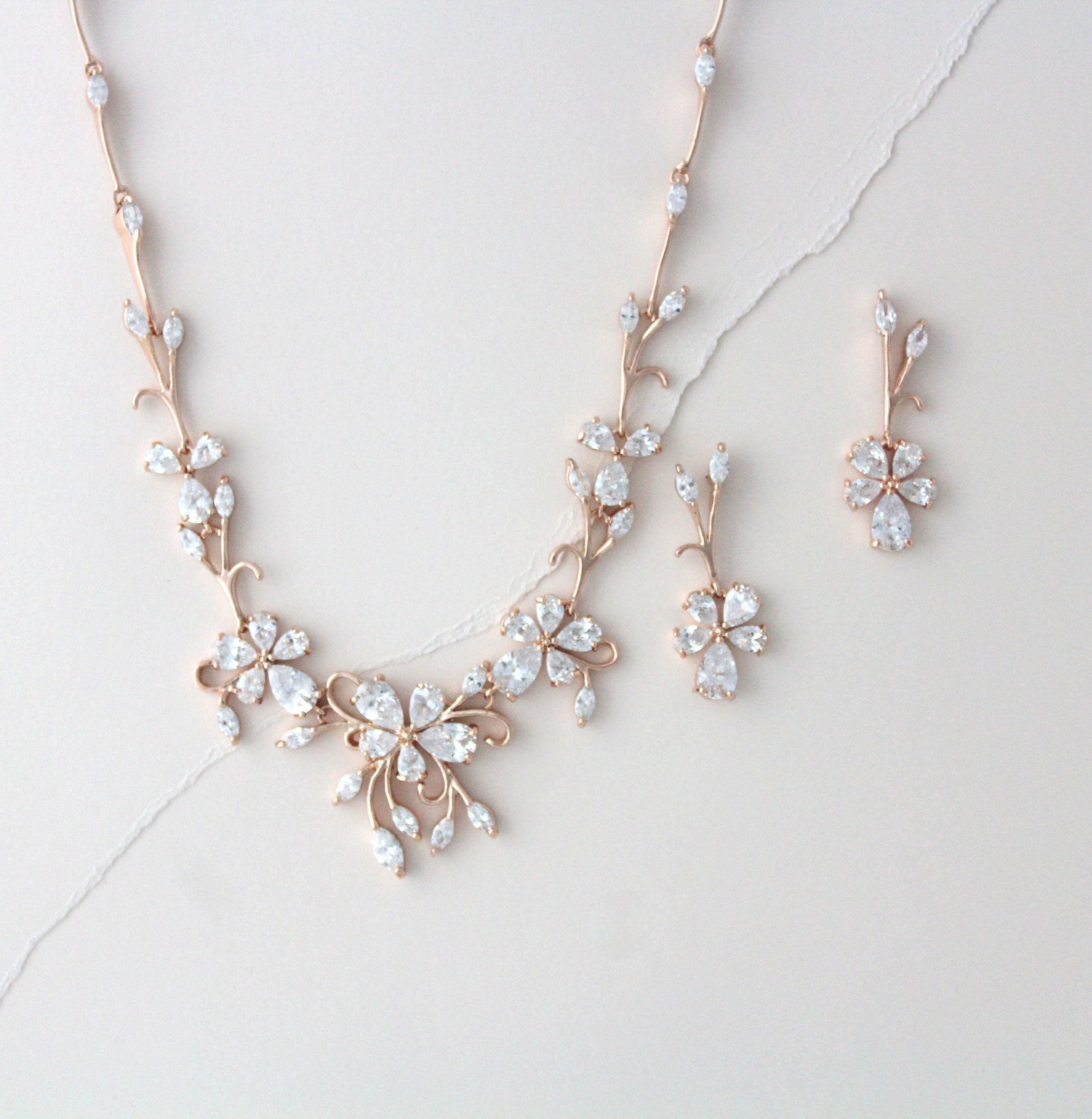 Rose gold CZ necklace and earrings Bridal jewelry Dainty Bridal necklace set Small leaf Bridal earrings Rose gold Bridesmaid jewelry gift