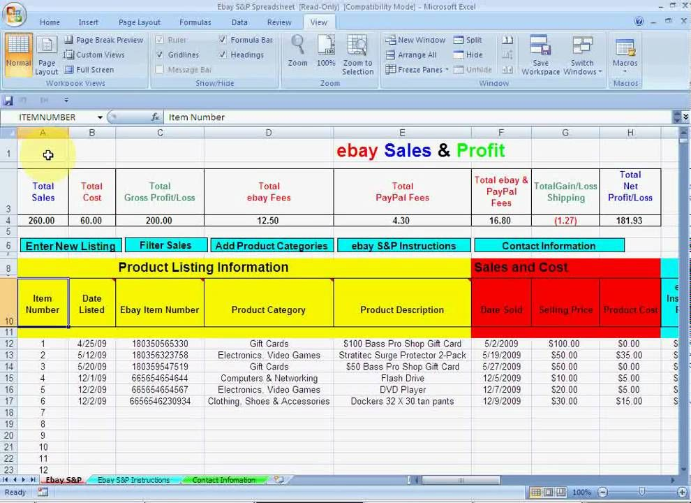 ebay Sales and Profit Spreadsheet for ebay | Videos | Pinterest ...