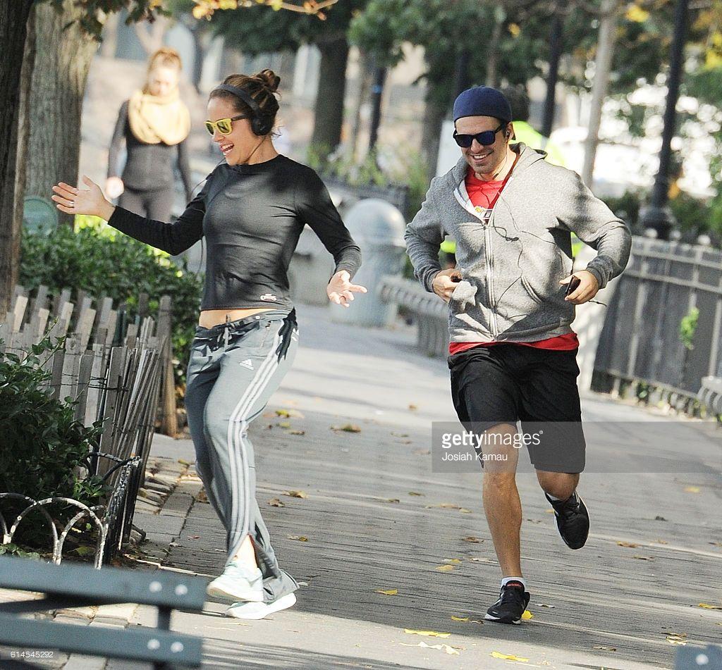 Margarita Levieva and boyfriend Sebastian Stan seen joking around while on a morning jog on October 13, 2016 in New York, New York.