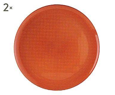 Set di 2 sottopiatti in vetro Diamond arancione, d 33 cm