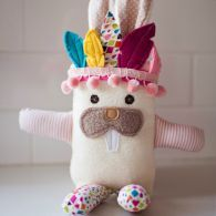 Tribal Bunny with wearable Headdress