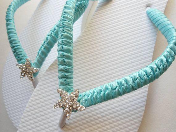 b408b3f9fbf5 Havaianas Flip Flops Bridal Aqua blue shower gift for bride Bridal ...