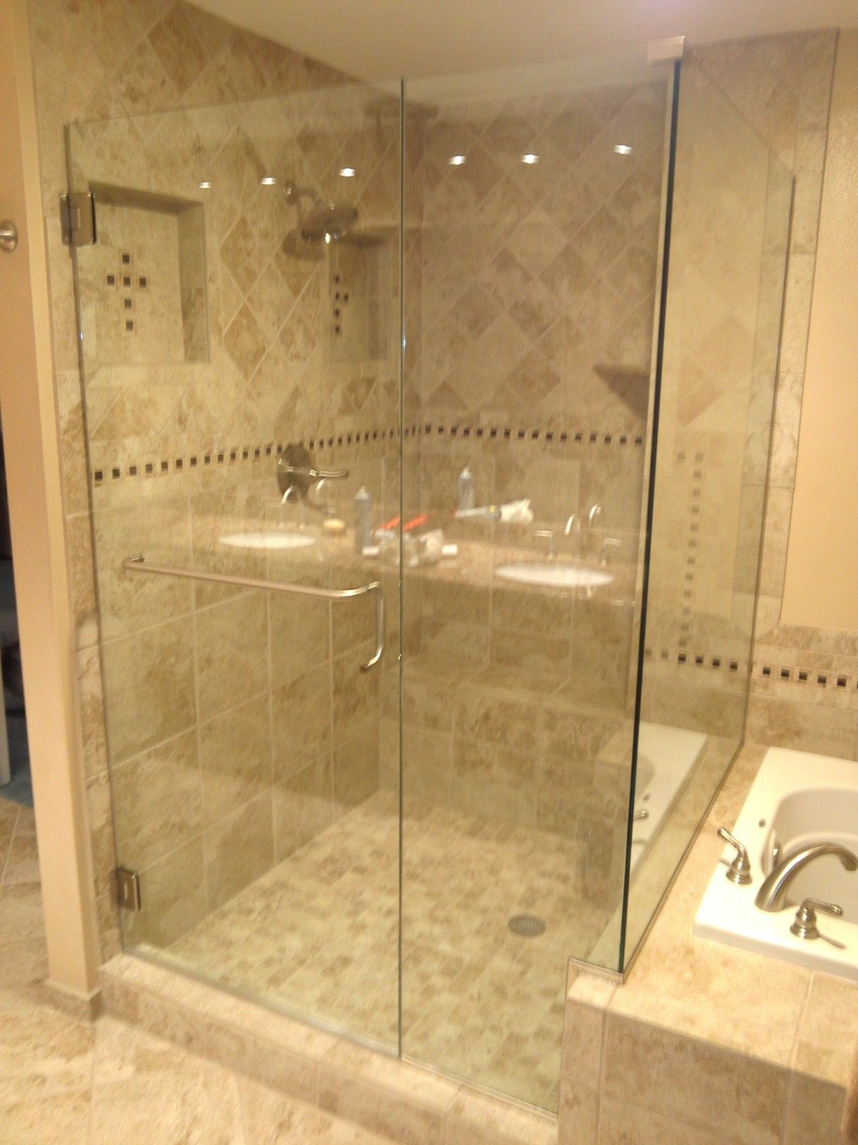 Custom 38 Heavy Glass Shower Door Brushed Nickel Hardware