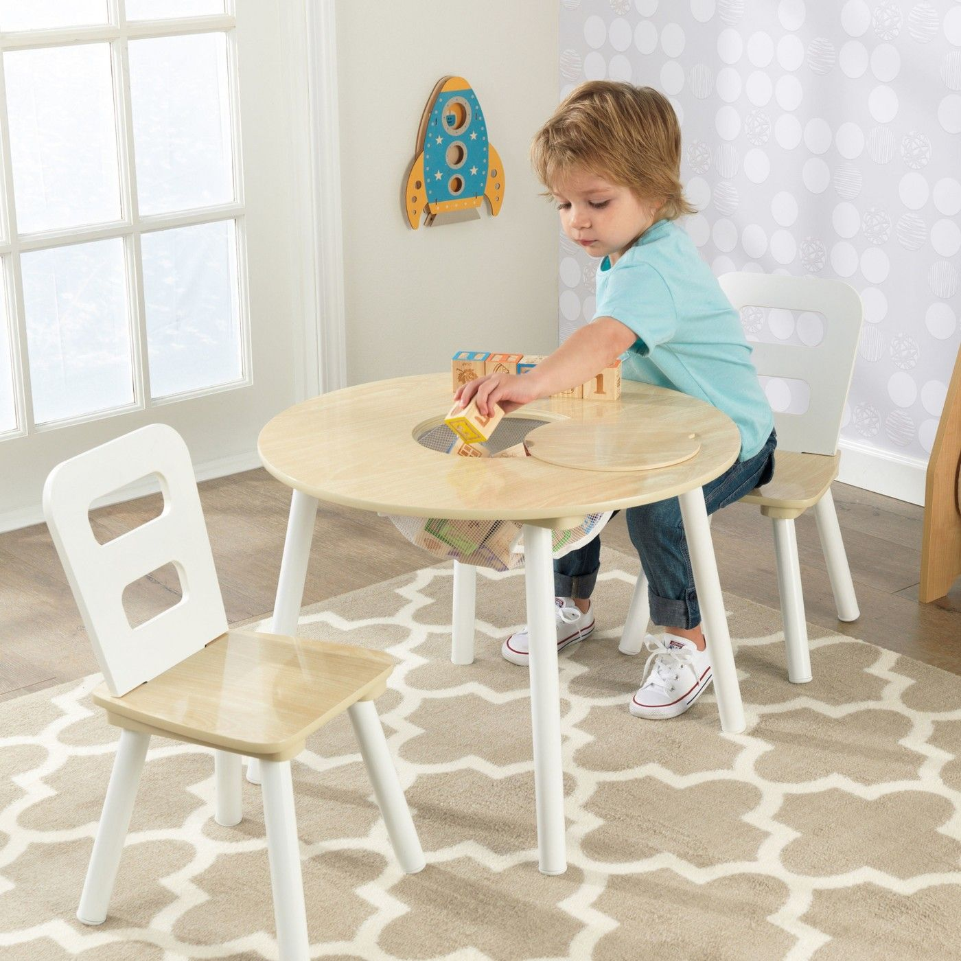Round Table And Chair White Natural Set Of 2 Kidkraft Round
