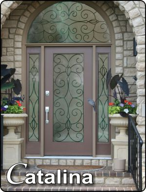 change out glass door inserts in front doors to inserts with wrought
