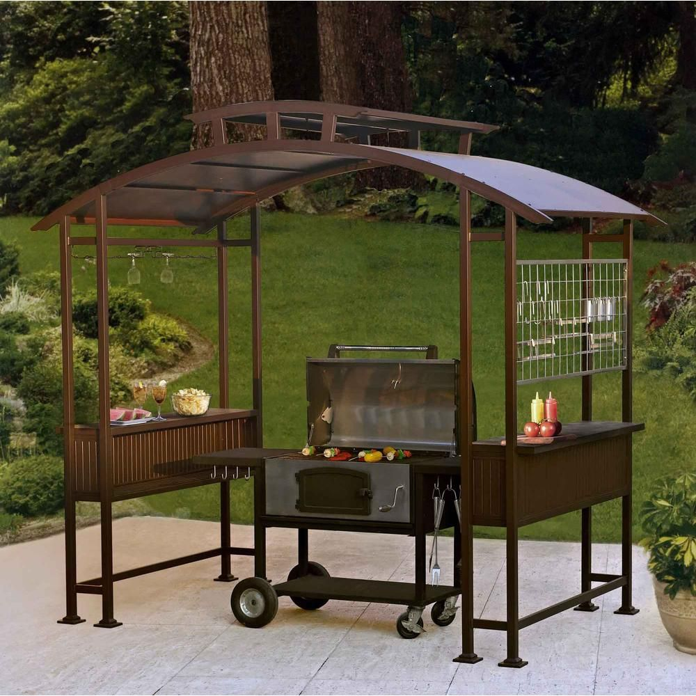 hampton bay hb walker grill gazebo model l gg013pst store sku