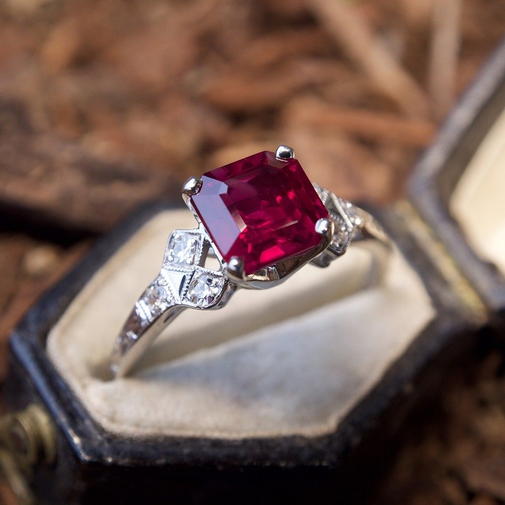 Art Jewelry Classic Sterling Silver Art Nouveau Ring With Lab Ruby