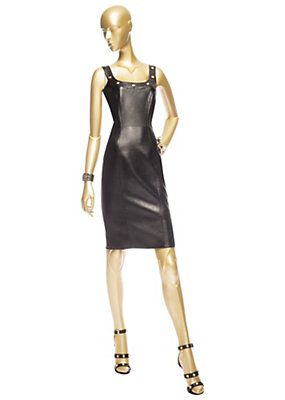 Versace - Leather Curve-Contouring Dress