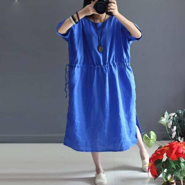 Dress - Women Summer Pullover Ramie Dress