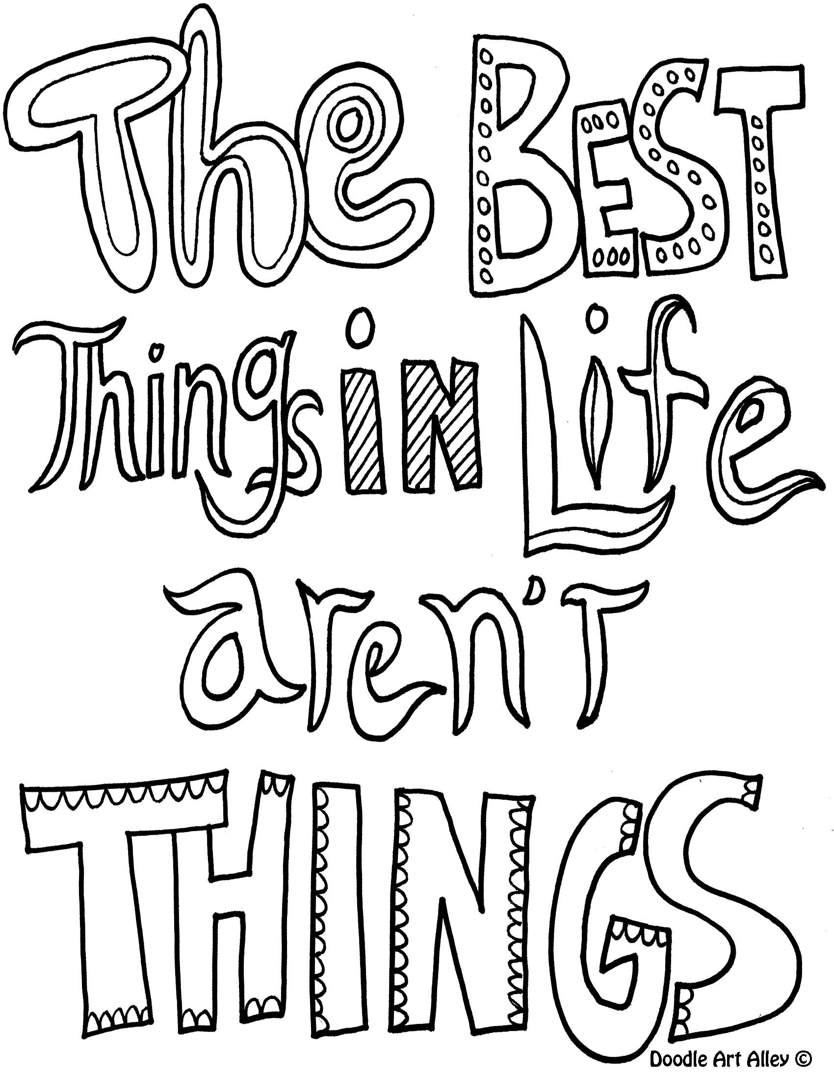 The Best Things In Life Arent Free Doodle Coloring Page