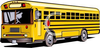Picture Of A School Bus Stopped In A Vector Clip Art Illustration