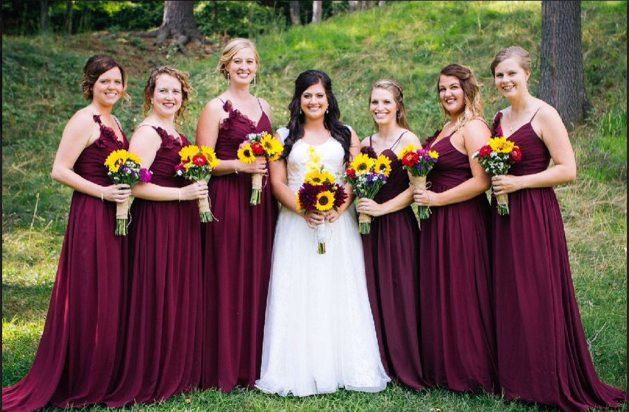 Burgundy and Yellow Bridesmaid Dresses
