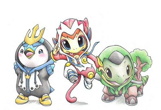 piplup as empoleon chimchar as infernape and turtwig as torterra