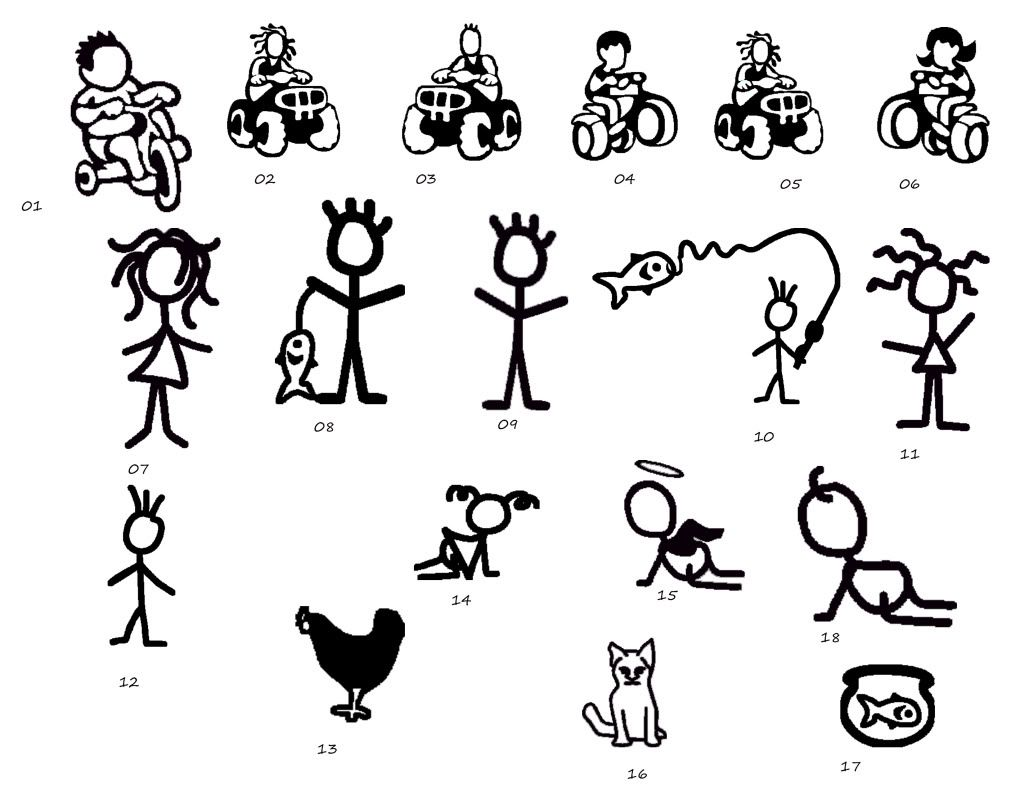Family Stick Figure Car Decal Stick Figures Car Decal And Stick Art - Family car sticker decalsfamily car decals ebay
