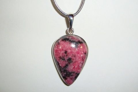 Rhodonite pendant - Sterling silver bezel-set pendant. Pink and black stone from Australia. Chain not included.