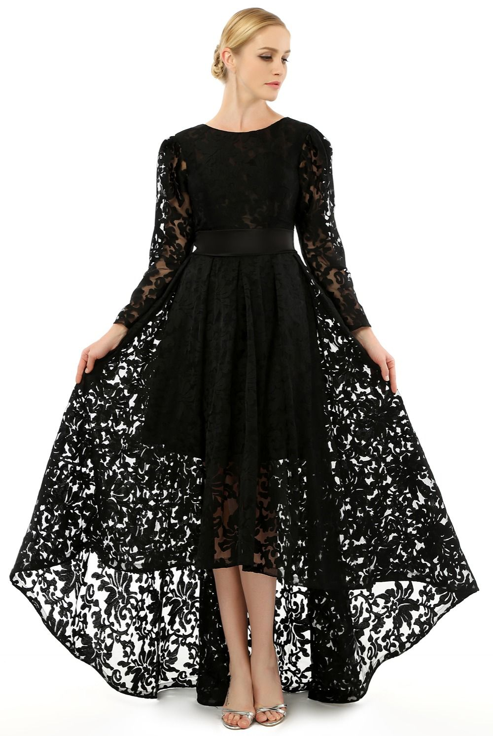 Click to buy ucuc elegant full lace evening dresses long sleeves short