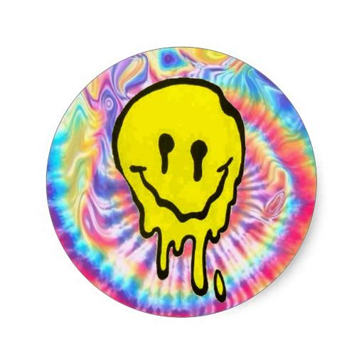 Trippy melting smiley face tie dye iphone 6 case classic round sticker