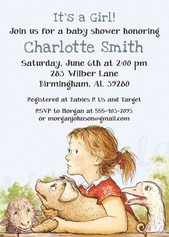charlotte 39 s web baby shower invitation sarah baby shower pinterest