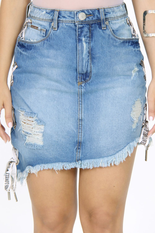 f9f849f6469 Saia Jeans Desfiada Barra - Moda it | Skirts em 2019 | Saias jeans ...