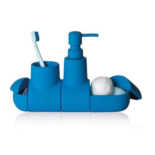 """Von wegen Yellow Submarine: Utensilo """"Submarino"""" sorgt auch in Dunkelblau für gute Laune und Ordnung im Bad."""