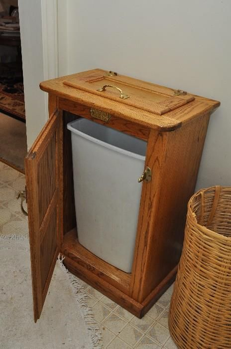 Found On Estatesales Net Oak Wooden Trash Can Holder Ice Box