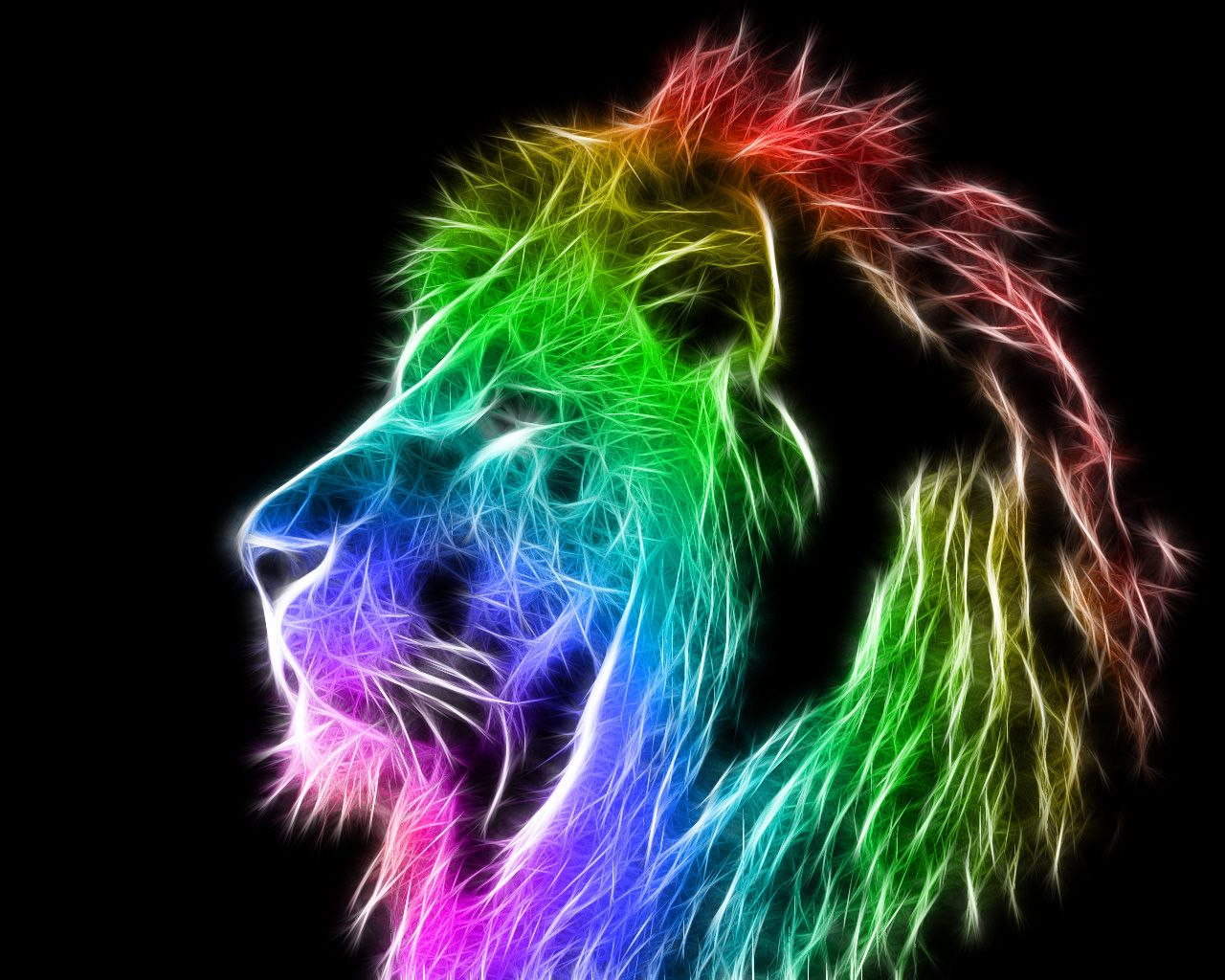 Colorful Lion Wallpaper 1280x1024 Id 17624 Rainbow Lion Colorful Lion Abstract Lion