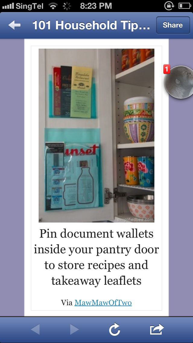 Pin document wallets inside your pantry door to store recipes and takeaway leaflets  Via MawMawOfTwo
