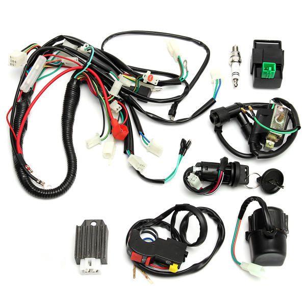 65276577f0224c8b97e4a6f4179f4219 wiring harness loom start switch kit pit bike atv 4 go kart 50cc  at mifinder.co