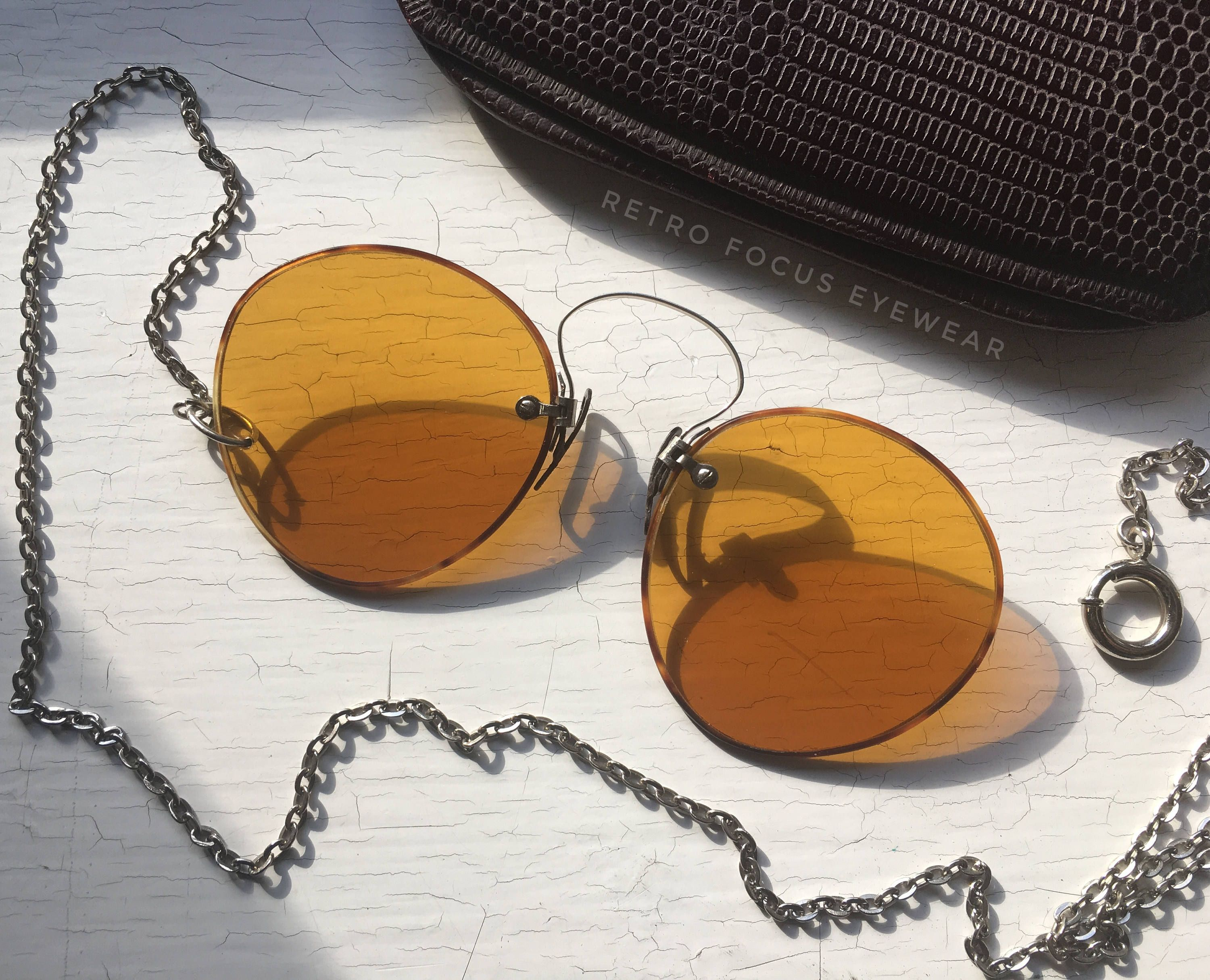f38b10aa7a 1890 s Pince Nez Amber Yellow Lenses Clip On Nose Sunglasses w Chain  Menswear Fashion Goth Retro Steampunk Gothic Victorian Eyewear Vintage