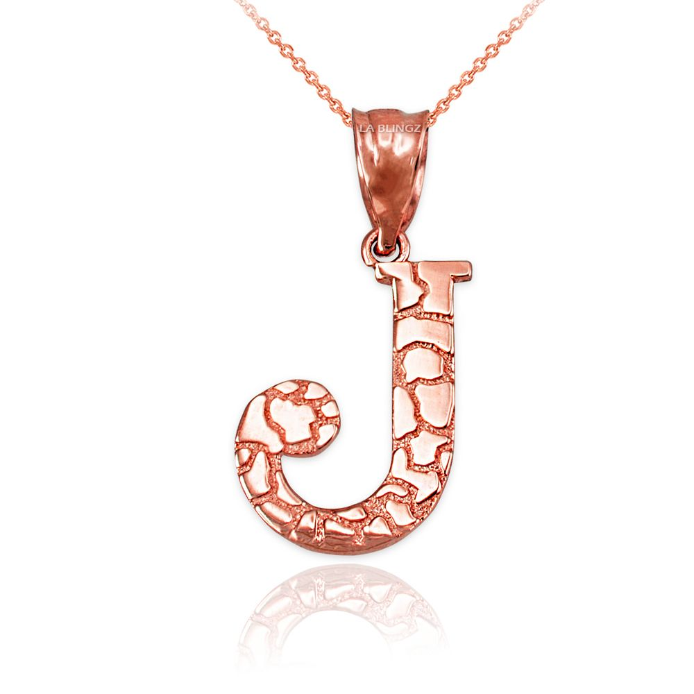 LA BLINGZ 10K White Gold Nugget Initial Letter B Necklace