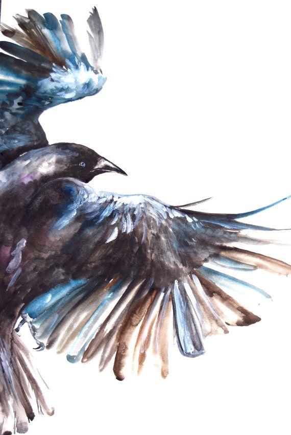 Pintura acuarela pintura Original cuervo en vuelo por WoodPigeon