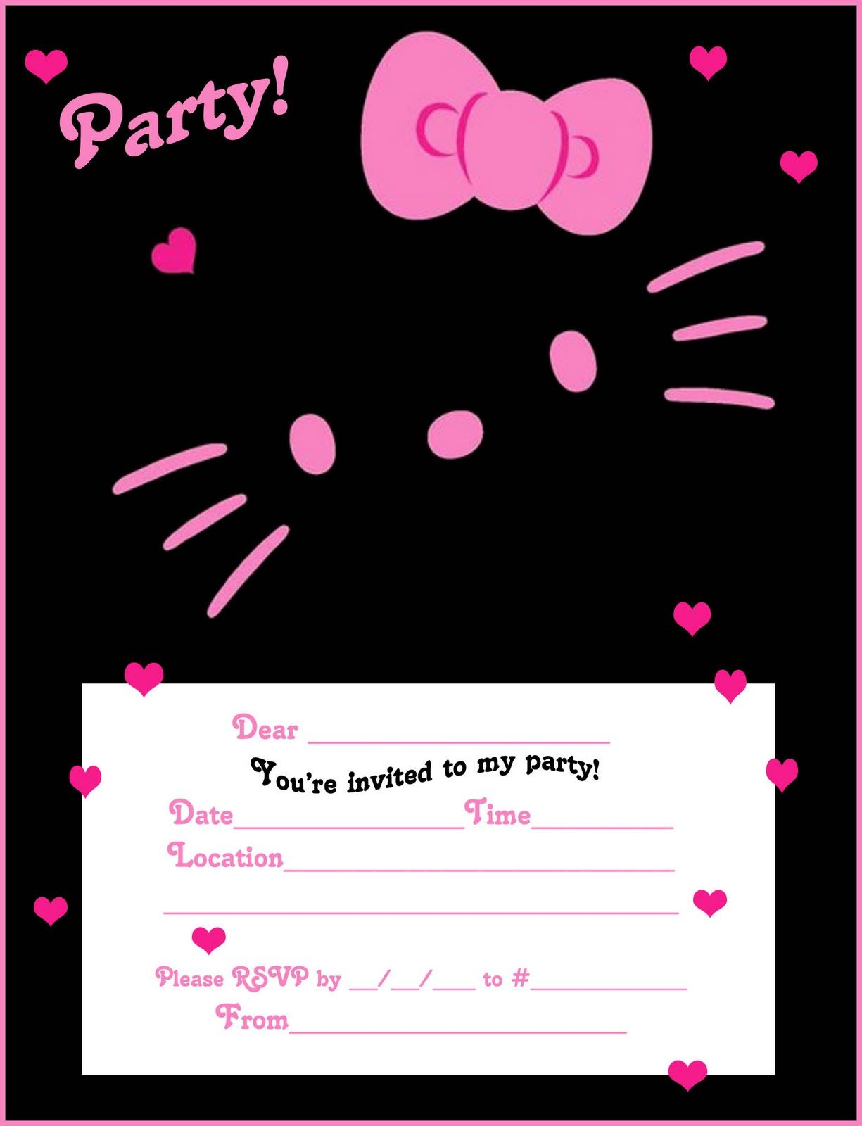 Hello Kitty Coloring Pages Hello Kitty Invitations Hello Kitty Birthday Invitations Hello Kitty Invitation Card