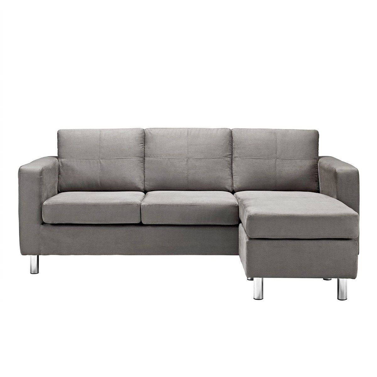 Best Amazon Com Modern Microfiber Grey Sectional Sofa Small 400 x 300