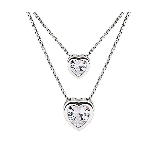 925 Sterling Silver Double Layer Heart Necklace Pendant Blue Cubic Zirconia Necklace for Women Best Gift for Women n7NKB7