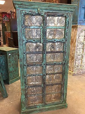 Antique Armoire Green Jaipuri Brass Dancing Camel Carved