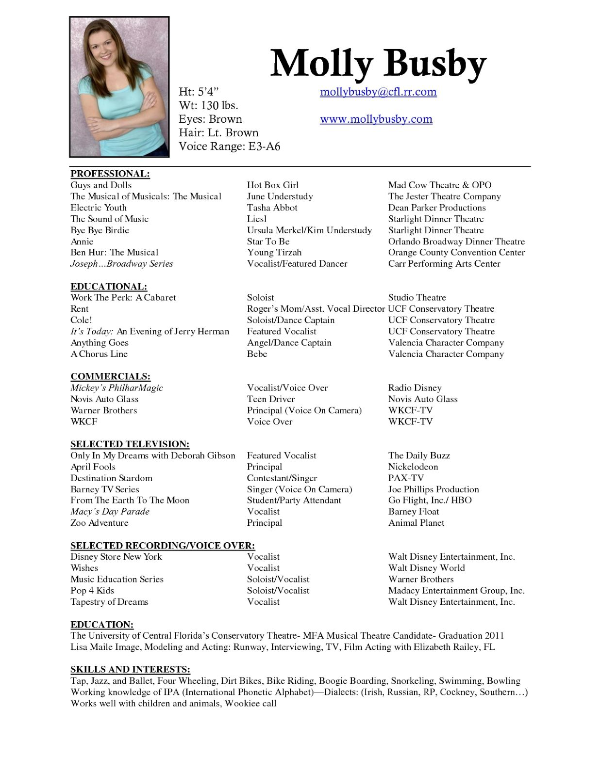 musical theatre resume template sle resume cover letter ...