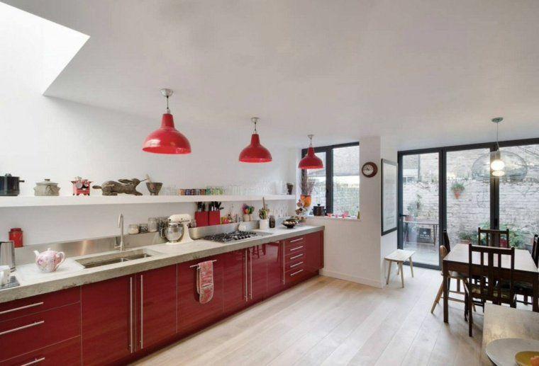 déco cuisine rouge laquée meubles design moderne Cuisines