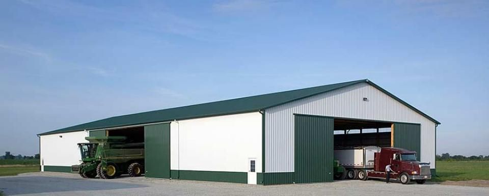 Farm building profile use 18 39 tall pole barn machine shed for Equipment shed