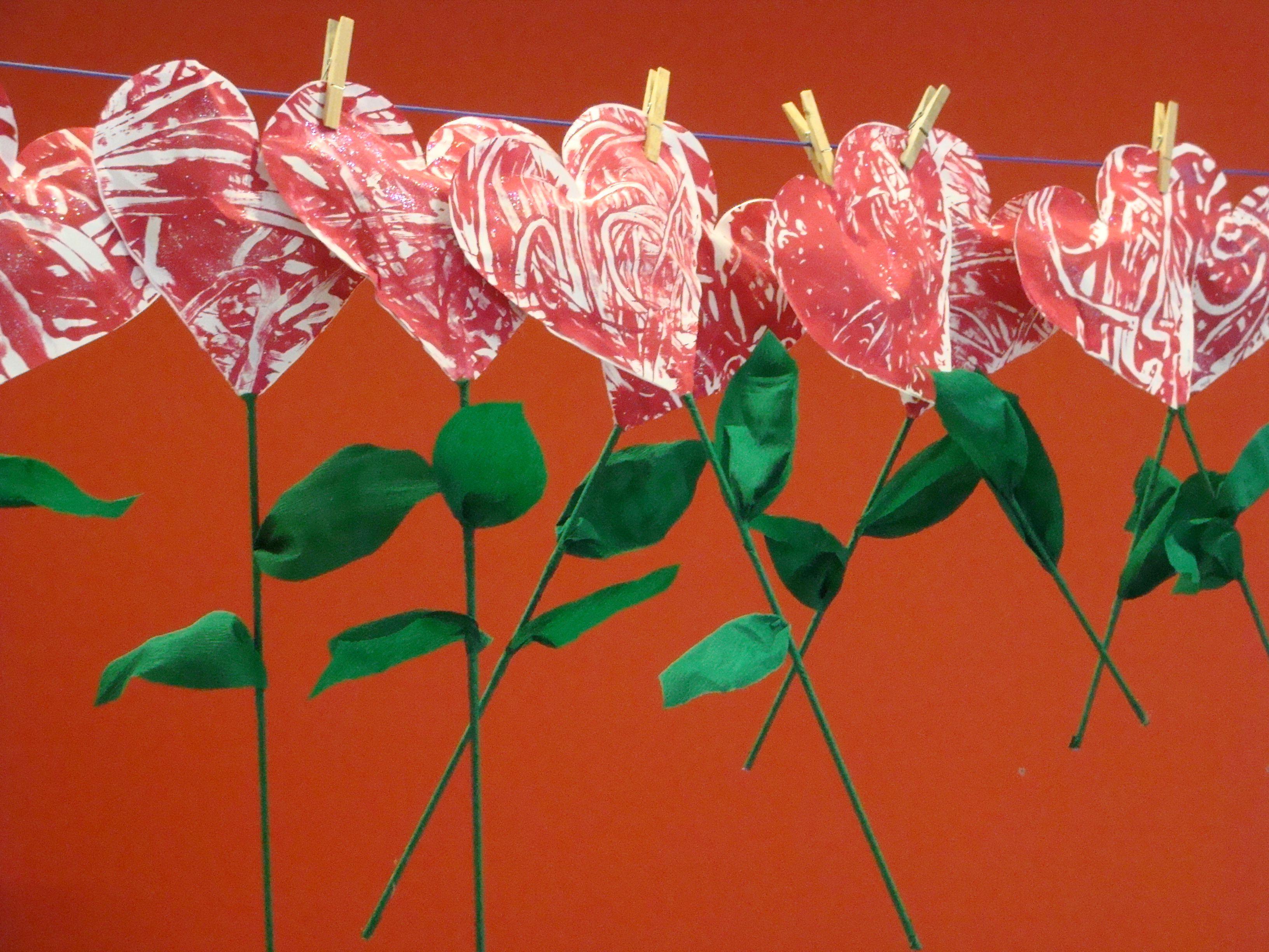 hartjesbloemen - vingerverven
