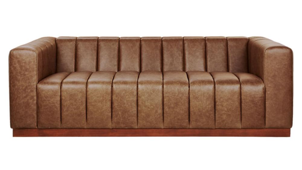 Forte Channeled Saddle Leather Sofa Reviews Cb2 Leather Sofa Gorgeous Sofas Deep Sofa