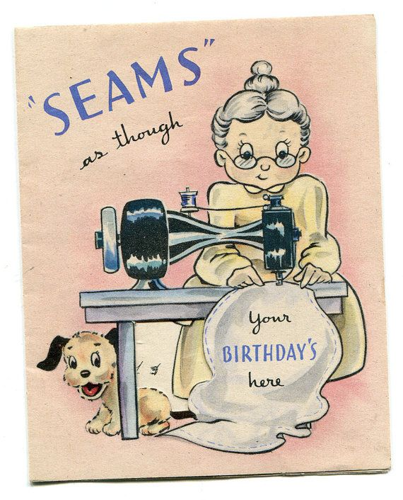 SEWING BIRTHDAY CARD Great Vintage Greeting Card By